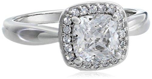 "Myia Passiello ""Cushion"" Cut Clear Swarovski Zirconia Halo Ring, Size 8"