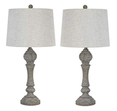 "Grandview Gallery 32"" Reclaimed Grey Table Lamps w/Linen Lamp Shades, Set of Two, Farmhouse and Country Style"