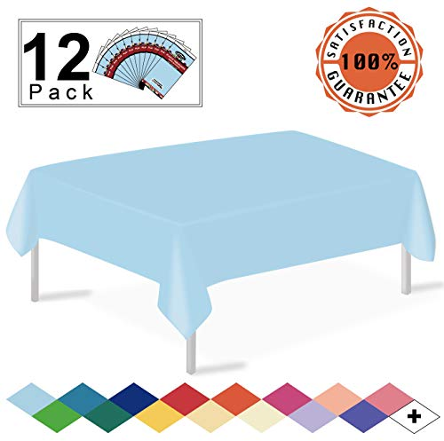 - 12 Pack Plastic Tablecloth Light Blue Disposable Table Covers Premium 54 x 108 Inches Table Cloth for Rectangle Tables up to 8 Feet and for Picnic Birthday Wedding Events Occasions, PEVA Material