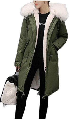today-UK Womens Stylish Warm Parka Jacket Hooded Zipper Coats Faux Fur Coat Outdoor Army Green