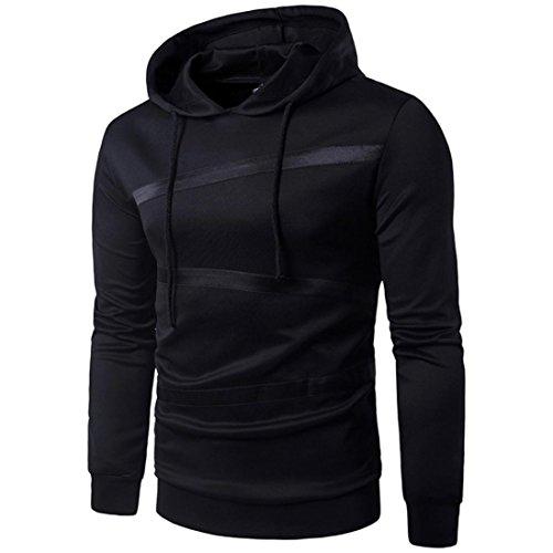 Coat Tops Winter Outwear Long Sweatshirts Sleeve Autumn BBring Men for Hooded Warm Hoodie Sweatshirt Striped Black Jacket 6w7RTT
