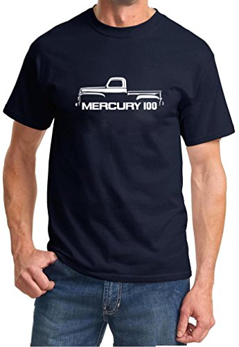 1952-56 Mercury 100 Classic Pickup Truck Outline Design Tshirt 3XL navy blue