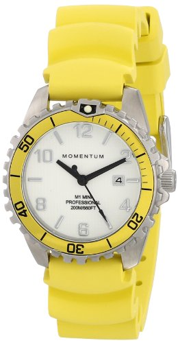 - Women's Quartz Watch | M1 Mini by Momentum | Stainless Steel Watches for Women | Dive Watch with Japanese Movement & Analog Display | Water Resistant Ladies Watch with Date - White/Yellow Rubber