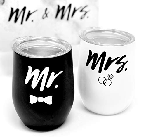 Engagement Drink Tumbler Gift Box Set - Stemless Mr and Mrs Coffee Wine Cup Glass for Engaged Newlywed Couples - For Weddings Bridal Showers Engagement Party - Two 12oz Insulated Stainless Steel ()