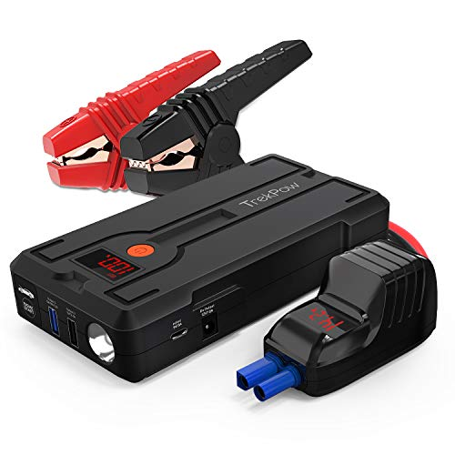 TrekPow Car Battery Jump Starter G39, 1200A Peak 12V Portable Auto Battery Booster (up to 6.5L Gas / 5.5L Diesel Engine) QC3.0 Phone Charger Jump Pack with Smart Jumper Cables, DC Port & Flashlight