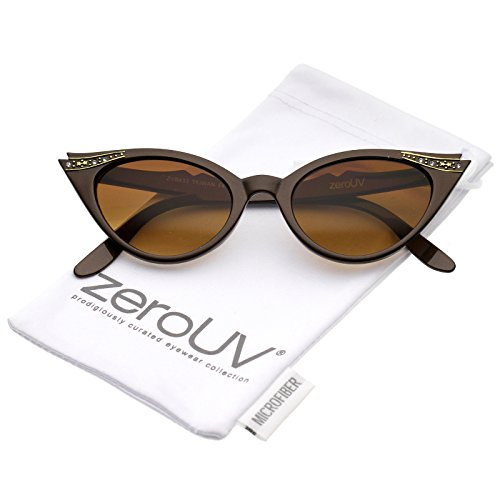zeroUV - Women's Retro Rhinestone Embellished Oval Lens Cat Eye Sunglasses 51mm (Brown / Brown) (Fifties Cat Eye Rhinestone Glasses)