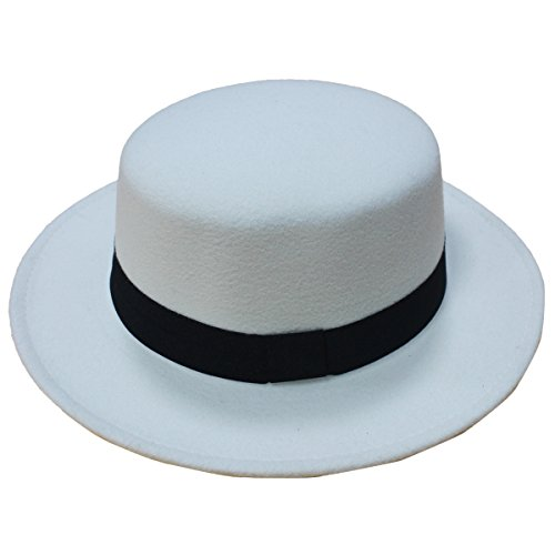 Norboe Women's Brim Fedora Wool Flat Top Hat Church Derby Bowknot Cap (White)