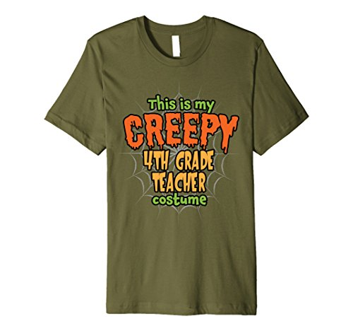 Halloween Grade Costume Ideas 4th (Mens Creepy 4th Grade Teacher Costume Premium Halloween T-Shirt 2XL)
