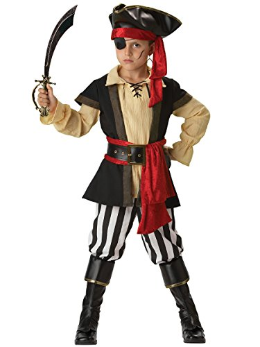 InCharacter Costumes Boys 2-7 Pirate Scoundrel Costume, Black/Red, 6 by Fun World