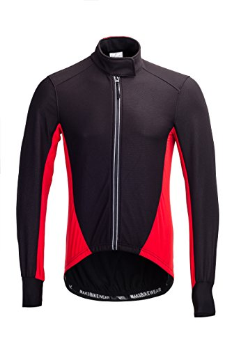 Long Sleeve Thermal Barrier Cycling Biking Windproof Firewall Winter Jacket (Black-Red, Small) (Cycling Jersey Winter compare prices)