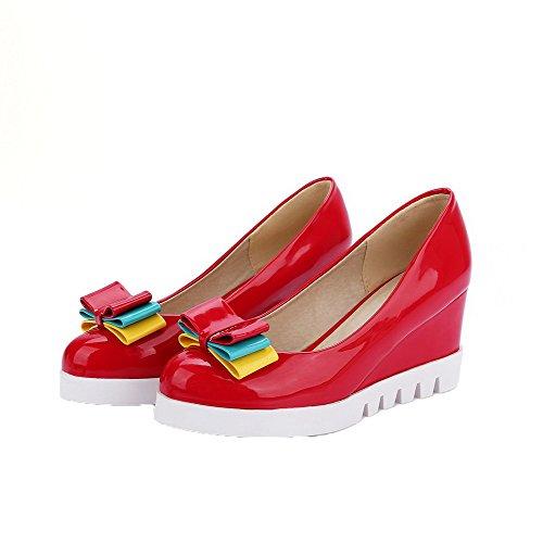 AllhqFashion Cuir PU Haut Chaussures Tire Rouge Talon Femme Rond Légeres à qx0grHq7