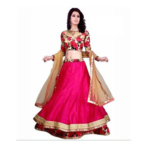 - Floral Print Ghagra, Choli, Dupatta Set (Pink)