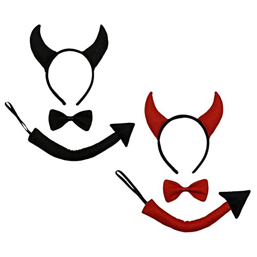 Black Devil Horns, Tail, Bow Tie Costume Set - Halloween Costume Party Kit - http://coolthings.us