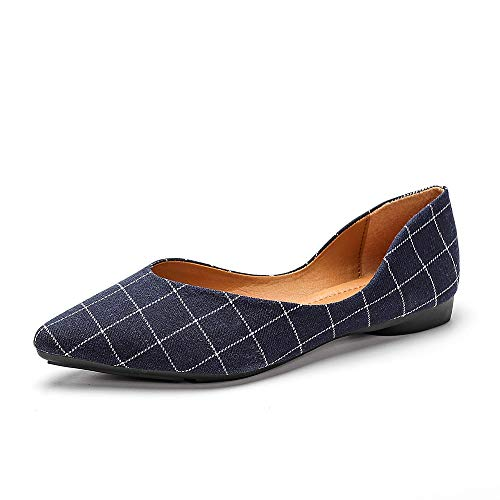 Meeshine Womens Classic Pointy Toe Ballet Flats Slip On Comfort Dress Flat Shoes (Plaid Navy Blue US 9)