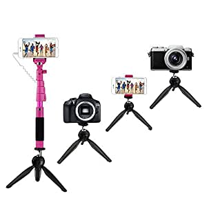 selfie stick with tripod prociv extendable monopod with tripod stand photo kit for. Black Bedroom Furniture Sets. Home Design Ideas
