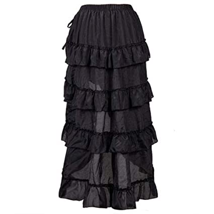 YOUMU Women Ruffled Pleated Vampire Pirate Skirt Steampunk Retro Victorian Punk Gothic