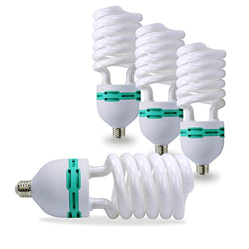 LimoStudio Photo Light Bulb - Pack of 4 - CFL 45 watt - Daylight Balanced 6500K - Pure White Light, AGG871