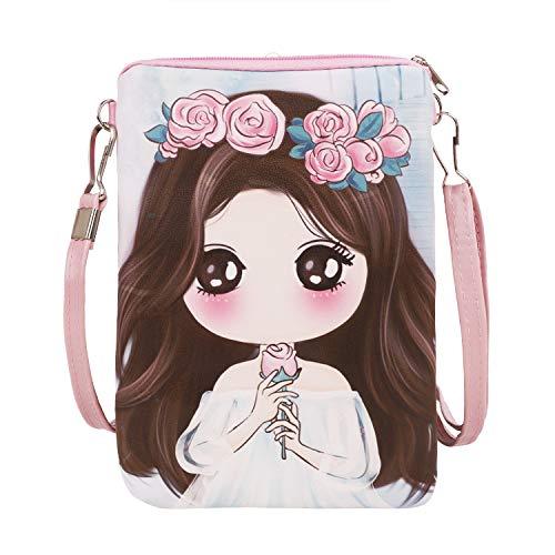 Fakeface Kids Girls Cute Cartoon Princess Wallet Coin Purse Card Holder Crossbody Shoulder Bag Cellphone Pouch (Blue)