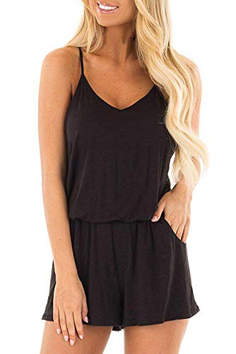 - BLUETIME Women Summer Casual Spaghetti Strap Adjustable Waist Drawstring Short Jumpsuit Solid Cami Romper (XXL, Black)