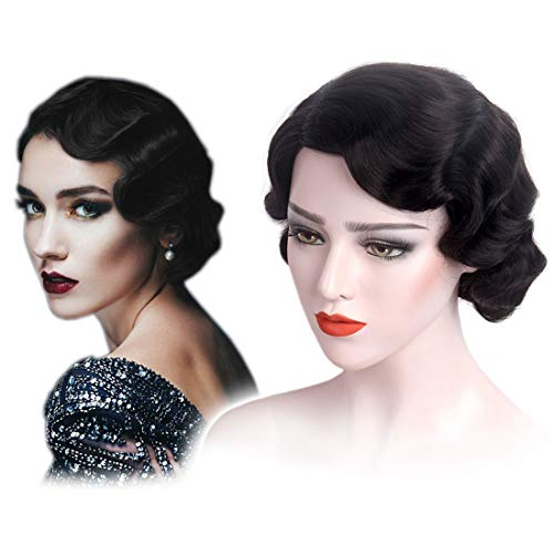 1920s Style Wigs (STfantasy Finger Wave Wigs 1920s Flapper for Women Costume (Jet)