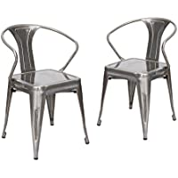 Adeco Industrial Chic Style Metal Stackable Curve Armrest Chairs, Gun Metal Silver, Set of 2