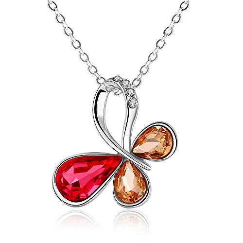 iCAREu Platinum Plated Multicolor Zircons Butterfly Pendant Necklace for Women, Girls, 18