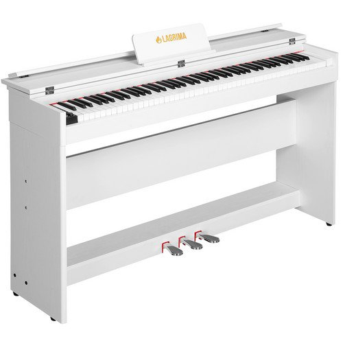 LAGRIMA Digital Piano, 88 Key Electric Keyboard Piano for Beginner W/Music Stand+Power Adapter+3-Pedal Board+Instruction Book+Headphone Jack(White Only Piano)