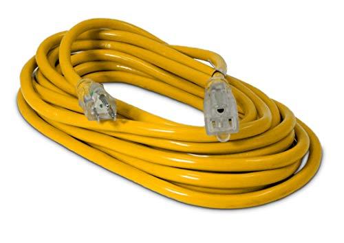 25-ft 12/3 Heavy Duty Lighted SJTW Indoor/Outdoor Extension Cord by Watt's Wire – Yellow 25′ 12-Gauge Grounded 15-Amp…