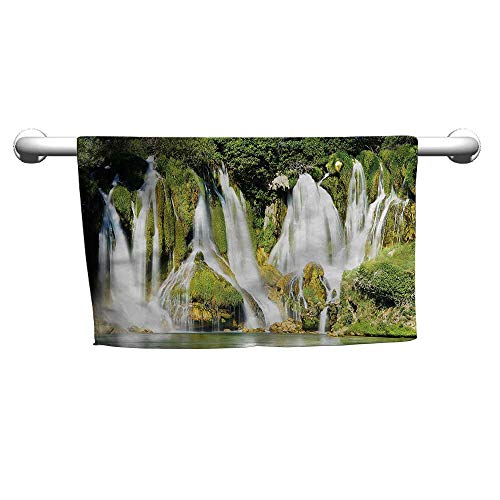 (flybeek Gym Hand Towels Waterfall,Majestic Mother Earth,t Shirt Towel for Curly Hair )