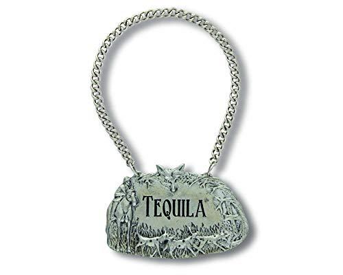 (Vagabond House Embossed Pewter Hunting Scene TEQUILA Decanter Tag/Liquor Bottle Label 2.5