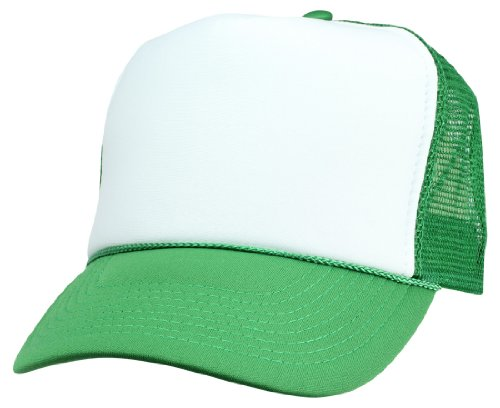 DALIX Two Tone Trucker Cap in Green and White Hat