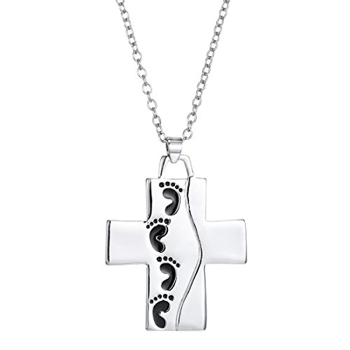 MUZHE Footprints .It Was Then That I Carried You Reversible Cross Pendant Necklace Prayer Jewelry for Women