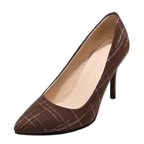 ENMAYER Woman Round Toe Mesh Pumps Microfiber Shoes Brown