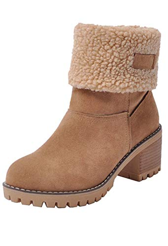 (Kssmi Warm Cute Women Winter Snow Ankle Boots Faux Fur Chunky Block Heel Short Booties 9.5 M US Camel)