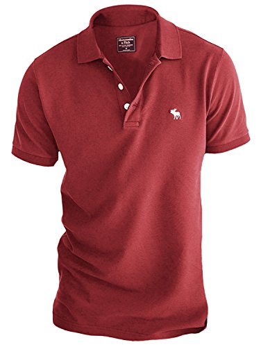 Abercrombie Men's Stretch Signature Fit Icon Polo Shirt Tee (Large, Light Red)