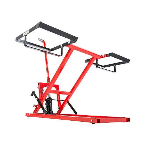 Pro Lift Lawn Mower Jack Lift with 300 Lbs Capacity for Tractors and Zero Turn Lawn Mowers 2 Safety Lock for Safely Supporting the Load Rubber Padded Platform to Prevent Scratching and to Protect your Machine Non-Slip Foot Pedal Allows Effortless Lifting the Load