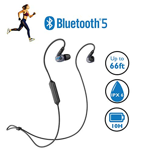 Miccus New Bluetooth 5 Sports Headphones, Sweatproof IPX6 Wireless Headset, High Fidelity Deep Bass, Comfortable Secure in Ear Fit with Mic, 10H Long Battery Life (Steath Mini) (Wireless Earbuds Best Battery Life)