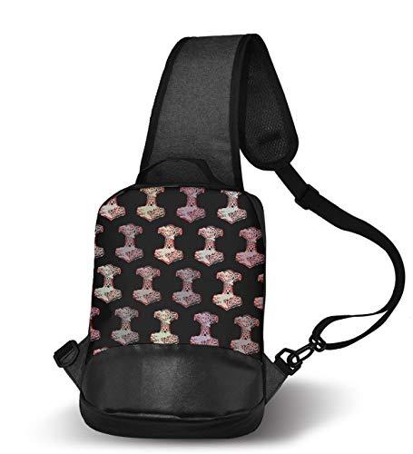800404a99d3b YongColer Casual Sling Backpack, Rope Bag, Nautical Anchor Viking Hammer  Norse Shoulder Crossbody Bag Chest Pack, Bookbag, Gym Bags Sack Daypack ...