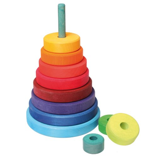 Grimm's Large Wooden Conical Stacking Tower, 11-Piece Rainbow Colored Stacker, Made in Germany