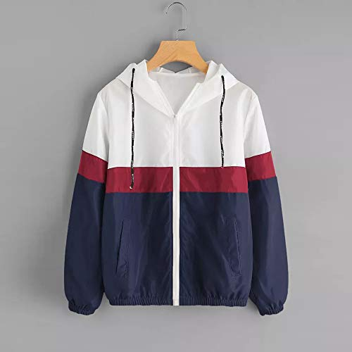 Patchwork Sweatshirt Hooded Tunic Long Zipper Navy Thin Women Pockets Hoodie Women Casual Sleeve Skinsuits Jersh Outerwear Coat qnvYwRUxTX