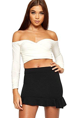 - Wearall Women's Frill Flared Ruffle Hem Short Crepe Elasticated Stretch Mini Skirt - Black - US 6 (UK 10)