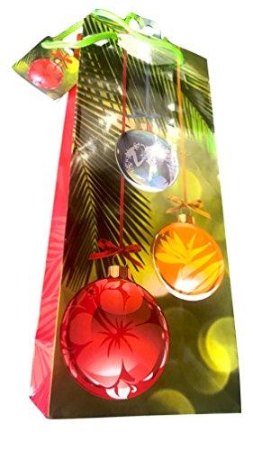 Island Treasures Hawaiian Mele Kalikimaka Xmas Bag (Island Holiday Ornament, Wine Bag 5-1/2
