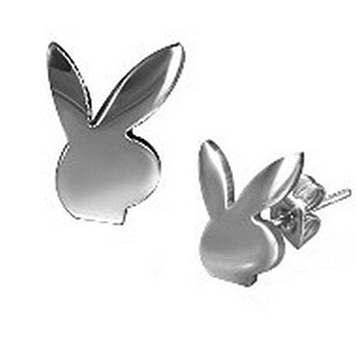 Stainless Steel Playboy Bunny Stud Earrings for Men or Women - 8 mm x 6 mm (.31