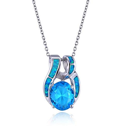 Sterling Silver and Blue Opal Ribbon Pendant with a Sky Blue Oval-Cut - Blue Ribbon Topaz