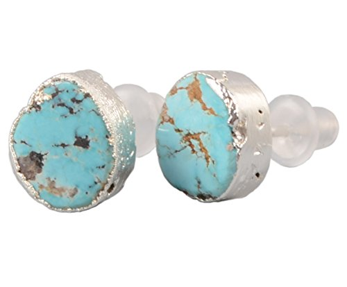 Setting Silver 925 Freeform Ring - ZENGORI 1 Pair 925 Sterling Silver Natural Freeform Turquoise Stud Earrings Women Jewelry SS043