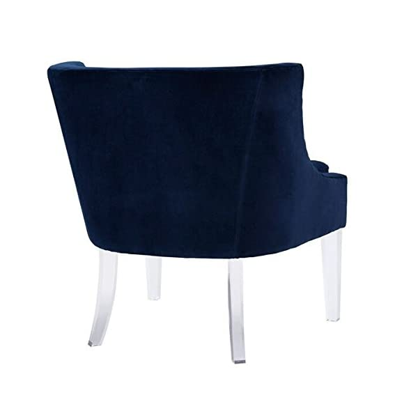 TOV Furniture The Myra Collection Modern Velvet Upholstered Living Room Accent Chair with Acrylic Legs, Navy Blue