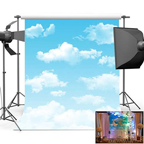 Mehofoto Blue Sky Backdrop Photography White Cloud Photo Background for Children Kids Photo Studio Props 5x7
