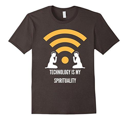 Mens Technology Is My Spirituality - Anti Religion T-Shirt XL Asphalt