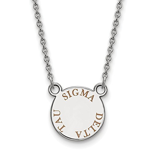 925 Sterling Silver Officially Licensed Sigma Delta Tau Extra Small Enameled Pendant with 18