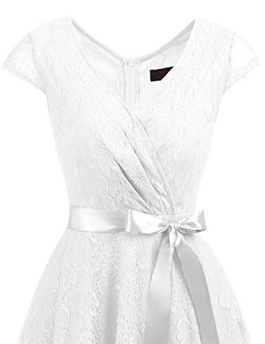 Dresstells Vintage White Vestiti Manica Casual Donna Corta Pizzo Vestito Cerimonia ZHq4aw